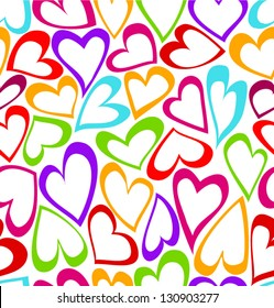 Cute colorful doodled hearts seamless background