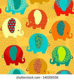 Cute colorful elephants seamless vector pattern.