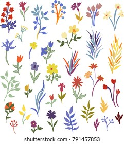 Cute colorful floral elements set for your design.