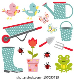 A cute colorful gardening icons collection