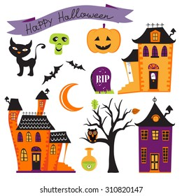 Cute colorful halloween elements collection. Vector illustration