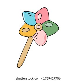 Cute colorful hand drawn black outline cartoon magic wand vector illustration isolated on a white backgriound. Little princess doodle concept.