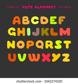 Cute colorful hand drawn uppercase alphabet. Cartoon style ABC letters. Design for book cover, poster, card.