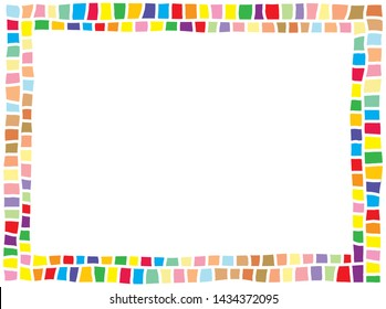 cute colorful horizontal border consists of various bright rectangle tiles