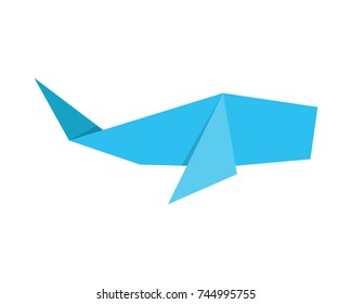 Cute Colorful Japanese Origami Paper Art Whale Illustration