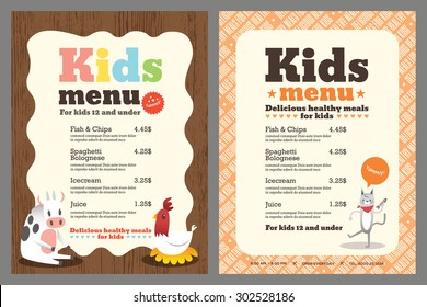 Cute colorful kids meal menu vector template with animals cartoon