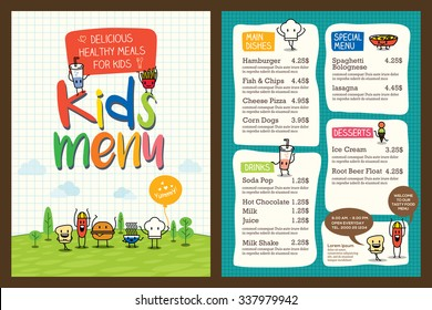 Cute colorful kids meal menu design vector template