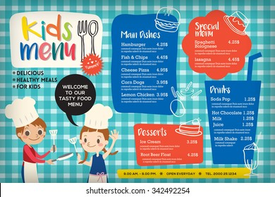 Cute colorful kids meal menu placemat vector template
