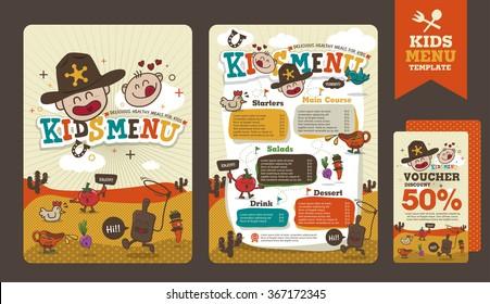 Cute colorful kids meal menu vector template with cowboy cartoon