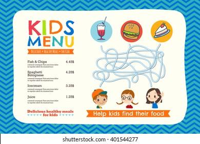 Cute colorful kids meal menu placemat vector template