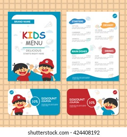 Cute colorful kids meal menu vector template with 2 boys pirate food and drink menu for kids layout template design, gift voucher ,discount coupon template
