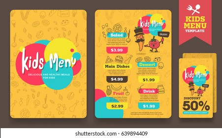 Cute Colorful Kids Meal Menu And Discount Voucher Layout Template Vector Illustration