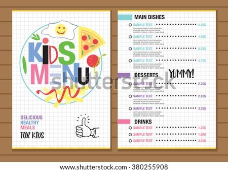 Cute colorful kids meal menu placemat stock vector royalty free cute colorful kids meal menu placemat design vector template maxwellsz
