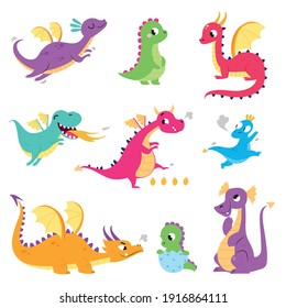 Cute Colorful Little Dragons Set, Funny Baby Dinosaurs, Fairy Tale Characters Cartoon Style Vector Illustration