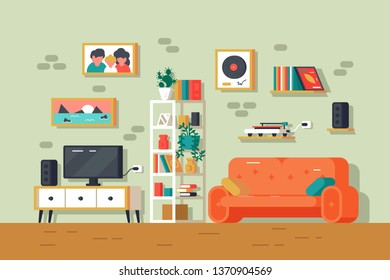 Cute and colorful living room interior. Furniture and decor family photo, sofa tv-set and bookshelf vector illustration flat style design. Sweet home concept