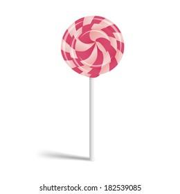 Cute colorful lollipop on stick.