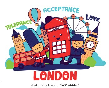 Cute, colorful London illustration in cartoon style, England showplace: Big Ben Clock, London Bus, Guard, Police. Tourism