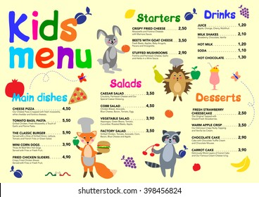 cute colorful meal kids menu template stock vector royalty free