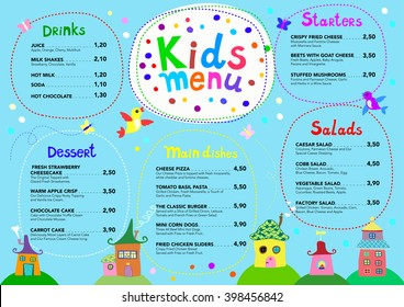 Cute colorful meal kids menu template with cute little houses