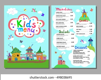 Cute colorful meal kids menu template with cute sweet village houses, birds, butterflies. Vector illustration