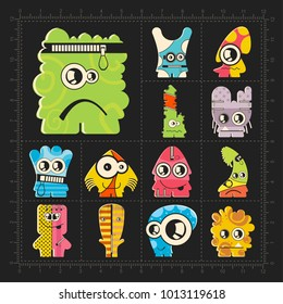Cute colorful monsters on black. Set of thirteen funny robot stickers for different use. cartoon illustration