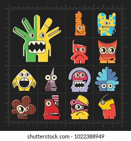 Cute colorful monsters on black. Set of thirteen robots stickers for different use. cartoon illustration