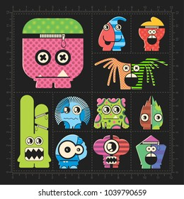Cute colorful monsters on black. Set of robot stickers for different use. cartoon illustration