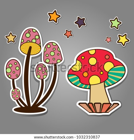 Cute Colorful Mushroom Decoration Spring Theme Stock Vector Royalty