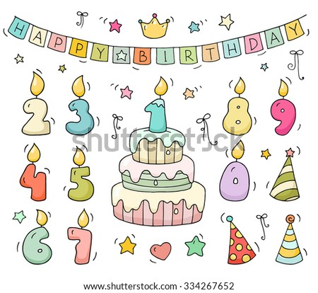 Cute Colorful Number Shaped Candles SetCartoon Birthday Cake And Lighting In The Form