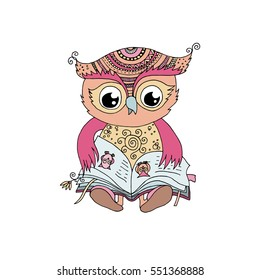 Cute colorful owl is sitting and reading the book . Funny vector illustration in cartoon style on white background. Can be used like sticker or for birthday cards, baby announcement and invitations.