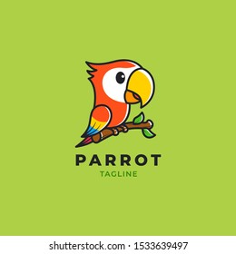 Cute colorful Parrot perch on branch, vector logo illustration