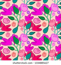 Cute colorful pink floral seamless pattern tile in pink, purple and green over beige background for summer and spring cheerful festive designs. for textile, fabric, backgrounds and backdrops