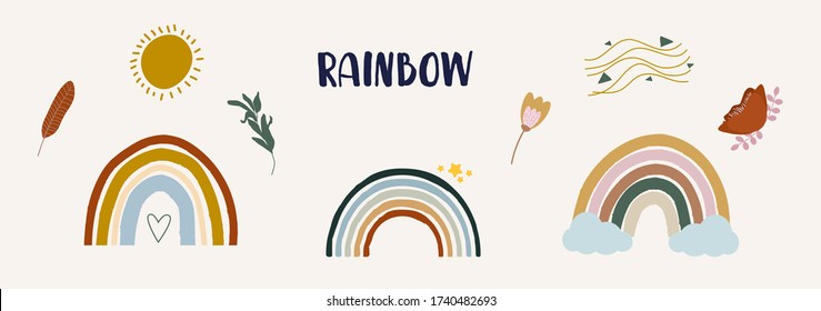 Cute colorful rainbows set in boho style. Childish flat vector illustration. Clouds, stars, flowers, sun isolated on white background. T-shirt print design element, logo, sticker, postcard, invitation