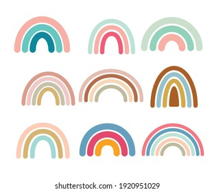 Cute colorful rainbows set. Childish flat vector illustrations collection. Perfect for kids, posters, prints, cards, fabric.
