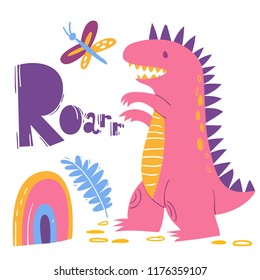 Cute colorful Roarr poster with a dinosaur