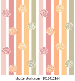 cute colorful roses on striped background seamless vector pattern illustration