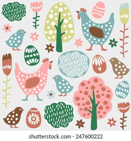 Cute colorful seamless easter spring vector pattern with hand drawn hens, chickens, eggs and flowers