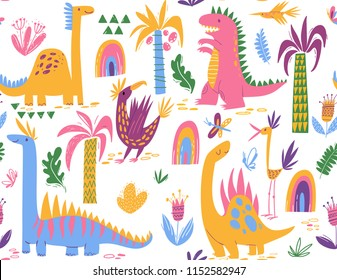 Cute colorful  seamless pattern with different dinosaurs