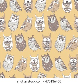 Cute colorful seamless pattern with owl.