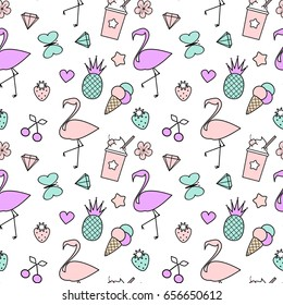 cute colorful seamless vector pattern background illustration with pineapples, flamingos, cherries, ice cream, stars, hearts, butterflies, strawberries, diamonds and flowers