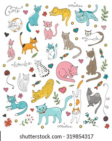 Cute colorful set  of hand drawn cats with twigs flowers and leaves. The set contains a word cat in Russian - koshka. Illustration in vector format