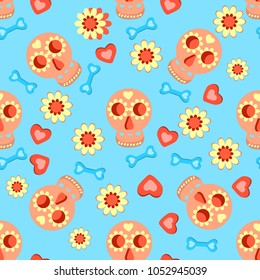 Cute Colorful Skulls And Hearts Seamless Pattern On A Blue Background For Textiles