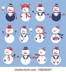 A cute colorful snowmen collection. Vector illustratiomn