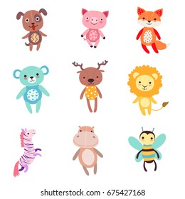 Cute colorful soft plush animal toys set of vector Illustrations