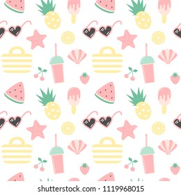 cute colorful summer seamless vector pattern background illustration