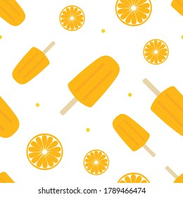 Cute colorful summer vector seamless pattern background with orange slices and popsicles, creamsicles.