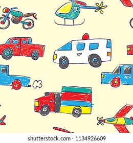 Cute and Colorful Transportation Vehicle Doodle Seamless Pattern for Baby and Kids