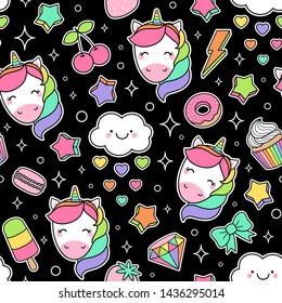 Cute colorful unicorn and dessert seamless pattern background