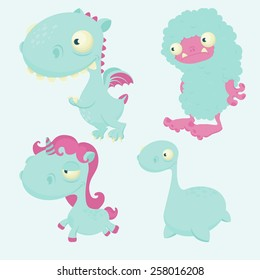 cute colorful vector creatures: dragon, yeti, unicorn and nessie