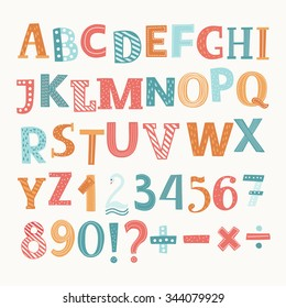 Cute colorful vector English alphabet and numbers. Division,addition, sign, minus sign